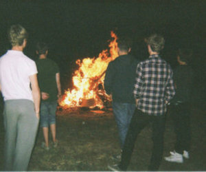fire, boy, and friends image
