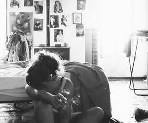 black & white, cigarette, and girl image