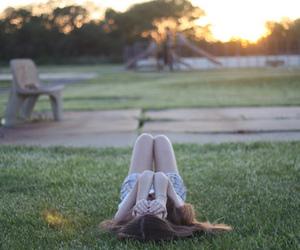 girl, grass, and sun image