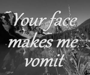 vomit, black and white, and face image