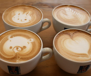 bear, bunny, and latte art image