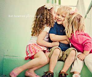 cute, kids, and kiss image