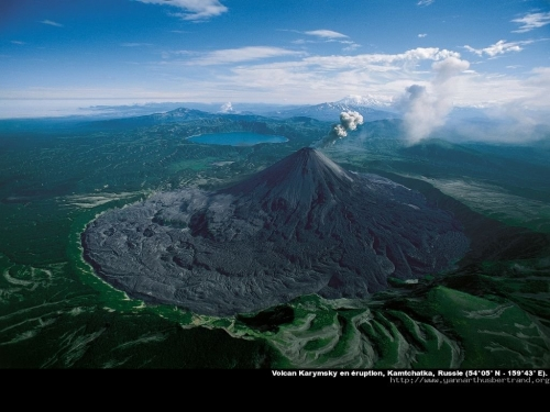 volcano, landscape, and nature image