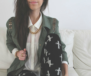 black, blouse, and lips image