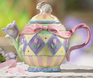 bunny, pretty, and teapot image