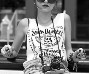girl, camera, and jack daniels image