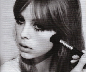 girl, black and white, and makeup image