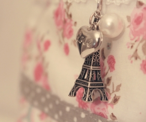 eiffel tower, floral, and pink image