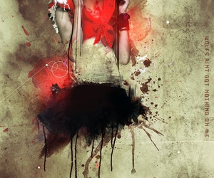 red, stencil art, and paint image