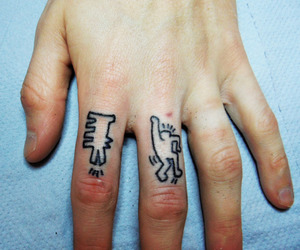 tattoo, hand, and keith haring image