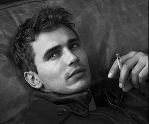 james franco, cigarette, and black and white image