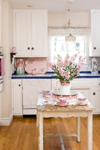 flowers, kitchen, and pink image