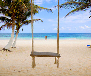 beach, summer, and swing image