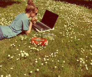girl, flowers, and laptop image