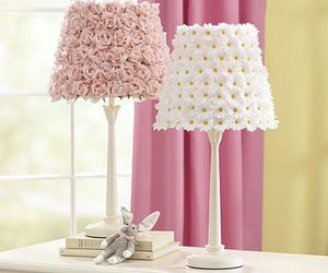 lamp, flowers, and pink image