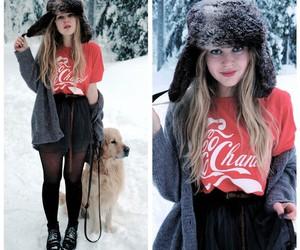 coke, dog, and snow image