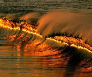 gold, waves, and summer image