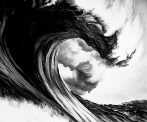 b&w, wave, and black&white image