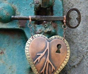 heart, lock, and turqouise image