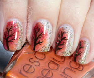 art, nails, and tree image