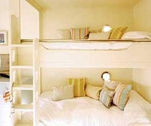bunk beds, white, and shared room image