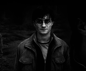 black and withe, boy, and hp image