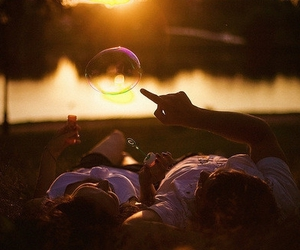 love, couple, and bubbles image