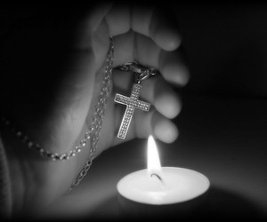 black, candle, and cross image
