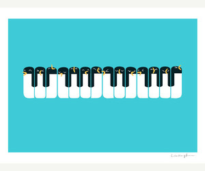 piano, penguin, and music image
