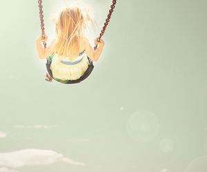 girl, sky, and swing image