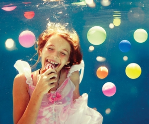 girl, happy, and balloons image