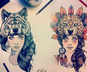 girl, drawing, and wolf image