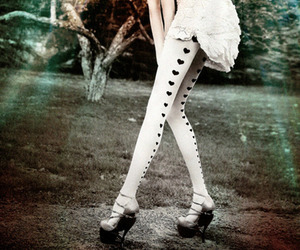 hearts, white, and tights image