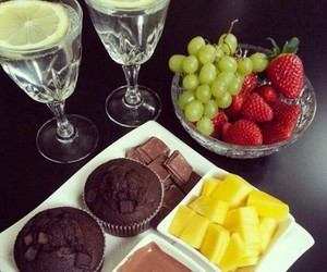chocolate, table, and two image