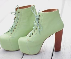 shoes, green, and heels image