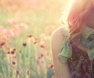 girl, flowers, and field image