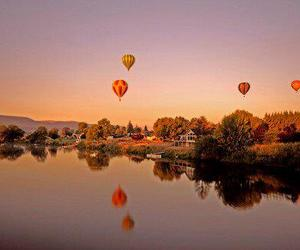 balloons, lake, and landscape image