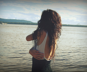 brunette, hair, and lake image
