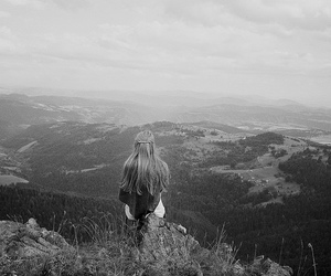 girl, black and white, and nature image
