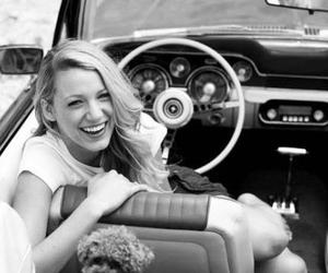 blake lively, car, and black and white image