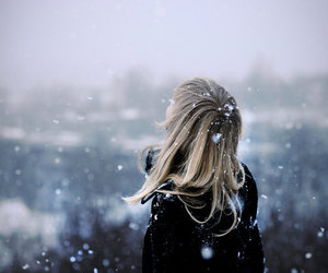 blonde, snowing, and winter image
