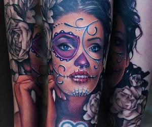 tattoo, skull, and color image