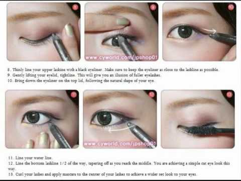 Korean makeup tutorials step-by-step instructions with pictures.