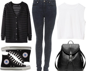 backpack, cardigan, and converse image