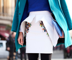 skirt, white, and blue image