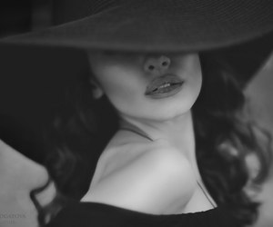 hat, lips, and woman image