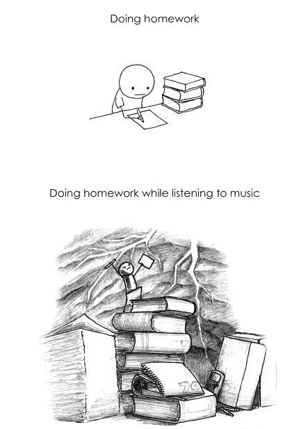 homework, music, and funny image
