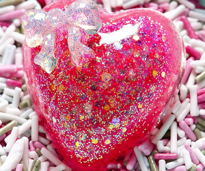 pink, glitter, and heart image