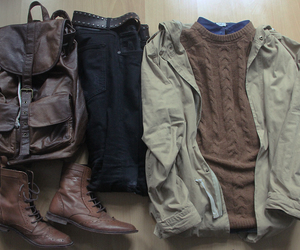 fashion, backpack, and boots image