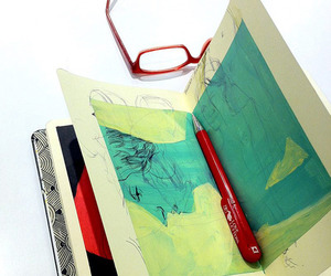 drawing, glasses, and sketchbook image